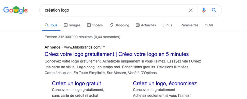 Logo gratuit résultat google